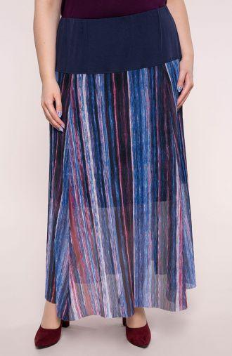 Spódnica z karczkiem niebieskie prążki
