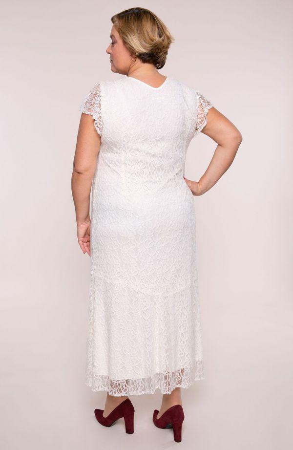 Długa sukienka w kremowym kolorze