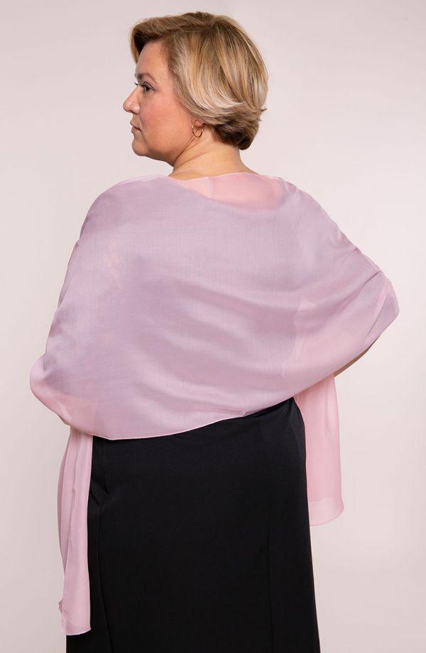 Wizytowy szal w kolorze różowym 47x210