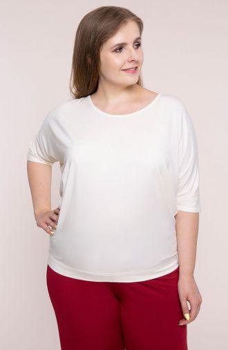 Kremowa bluzka z wiązaniem na plecach