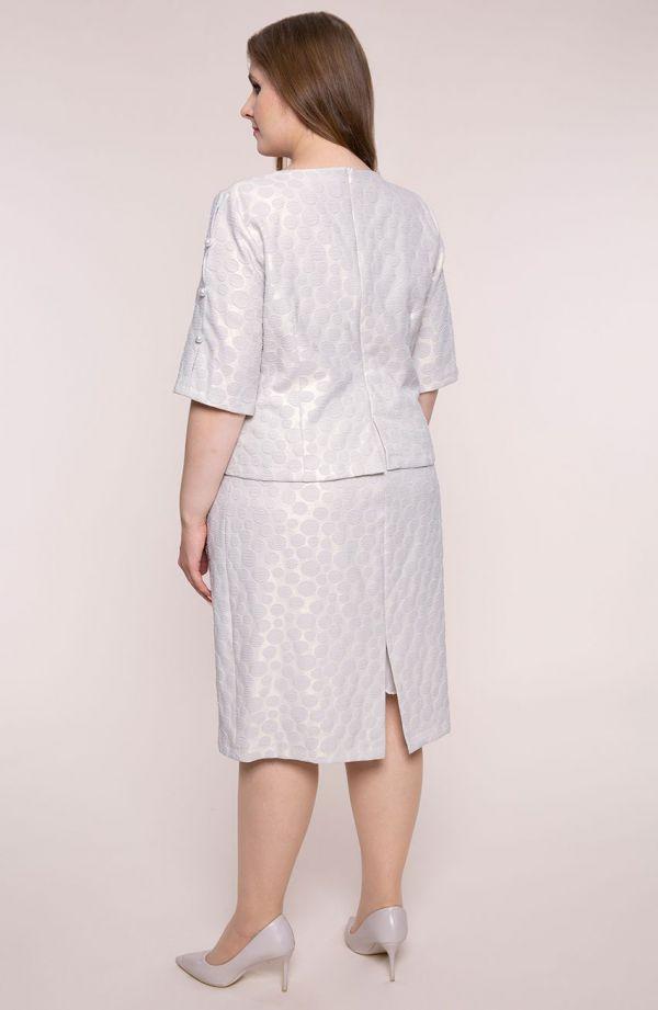 Sukienka z perełkami w pudrowe groszki