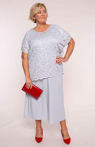 Szara sukienka z koronkową bluzeczką