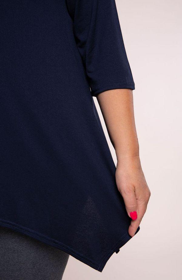 Gładka wiskozowa tunika w kolorze granatu