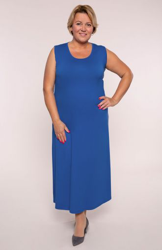Sukienka maxi w modrym kolorze