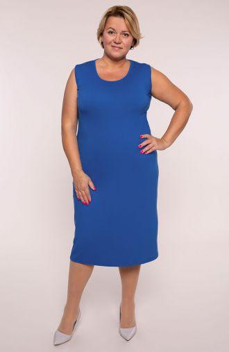 Gładka prosta sukienka w modrym kolorze