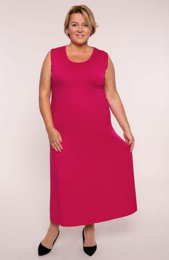 Sukienka maxi w malinowym kolorze