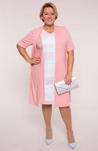 Elegancka różowa sukienka z narzutką