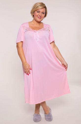 Różowa koszula nocna z koronką Mewa