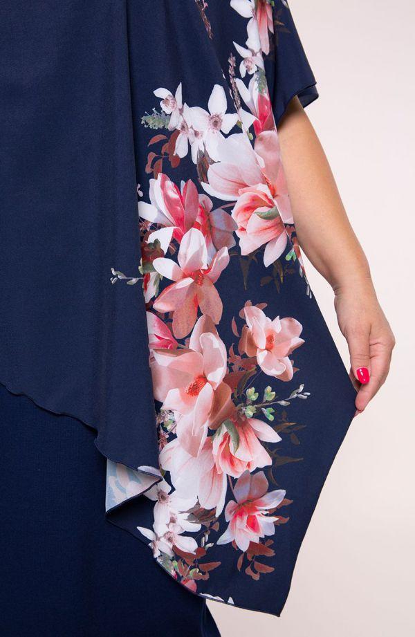 Asymetryczna sukienka egzotyczne kwiaty