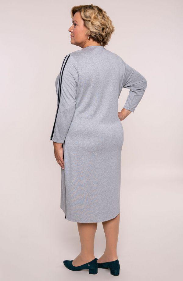 Szara sukienka z czarnymi lampasami- tanie sukienki plus size