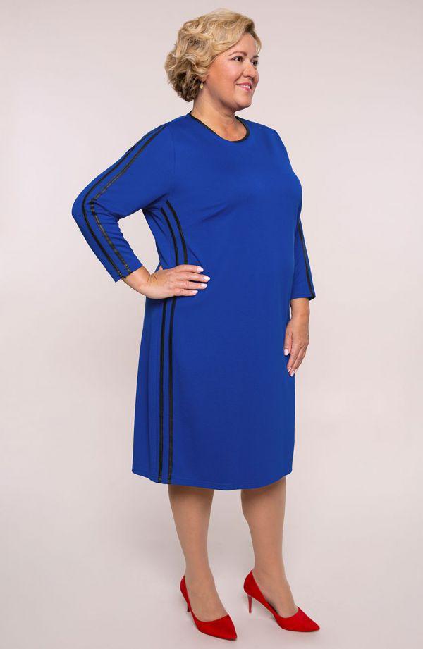 Chabrowa sukienka z czarnymi lampasami- tanie sukienki plus size