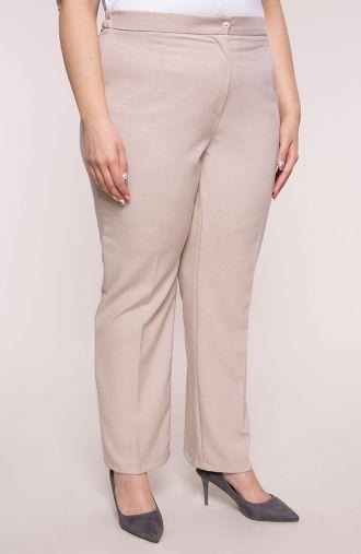 Lniane proste spodnie w kant beż