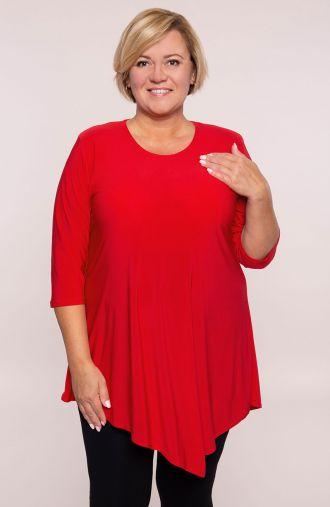 Asymetryczna tunika w kolorze czerwieni