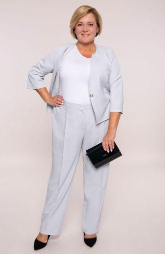 Szare eleganckie spodnie w kant