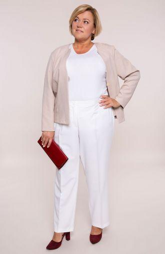 Śmietankowe eleganckie spodnie w kant