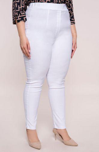 Białe spodnie z bardzo wysokim stanem