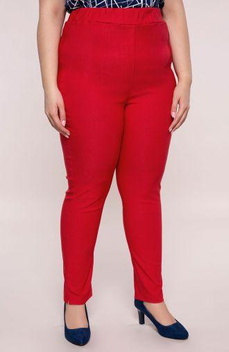 Czerwone spodnie z bardzo wysokim stanem