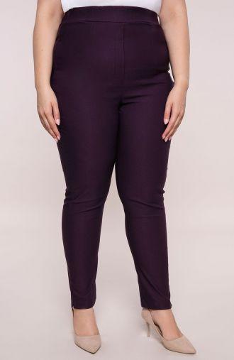 Purpurowe spodnie z bardzo wysokim stanem