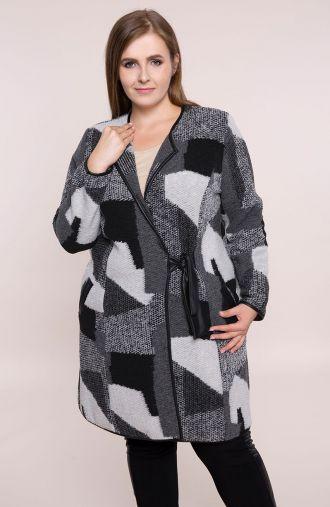 Szary wełniany płaszcz z wiązaniem