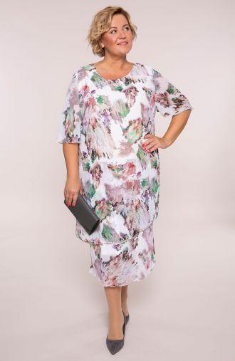 Szyfonowa sukienka fioletowe chmurki