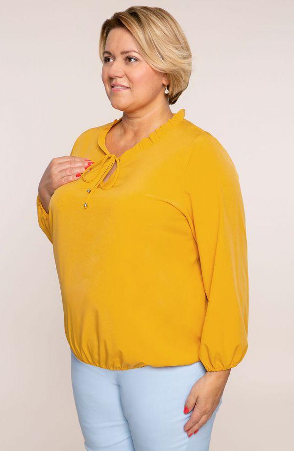 Elegancka musztardowa bluzka z wiązaniem