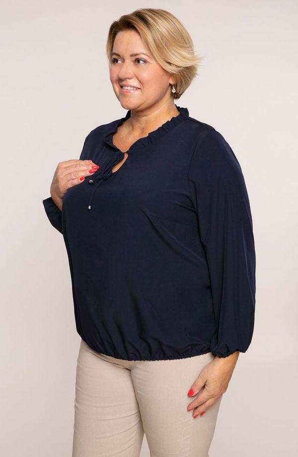Elegancka granatowa bluzka z wiązaniem