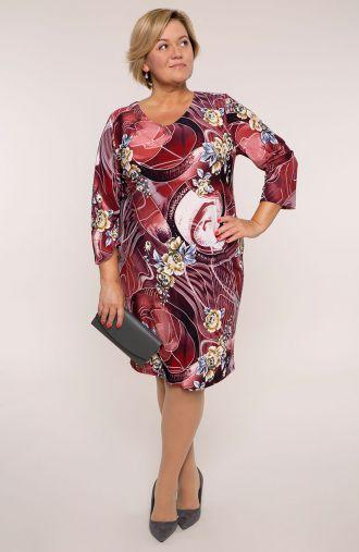 Sukienka z rękawem 3/4 rubinowy kolaż