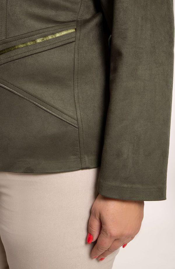 Kurtka z eko zamszu w kolorze khaki