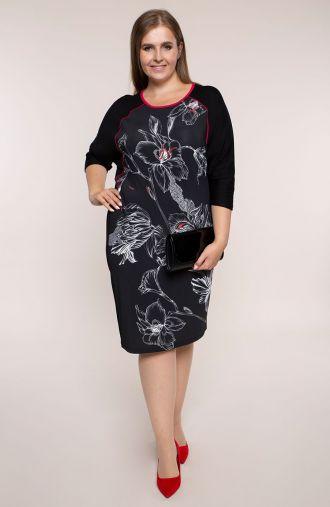 Czarna sukienka nocna lilia- tanie sukienki plus size