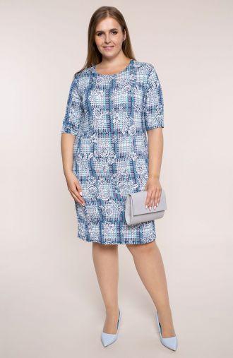 Dzianinowa sukienka błękitna kratka