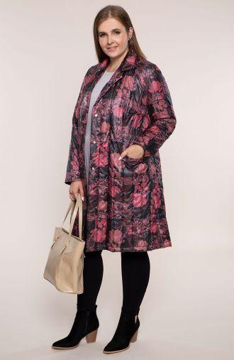 Przejściowy pikowany płaszcz różowe kwiaty