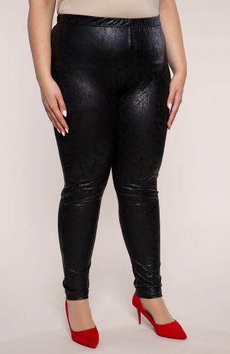 Czarne skórkowe gniecione legginsy