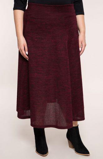 Rozkloszowana spódnica bordowy marmurek