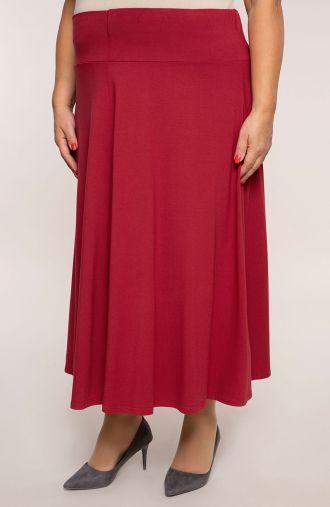 Długa bordowa rozkloszowana spódnica