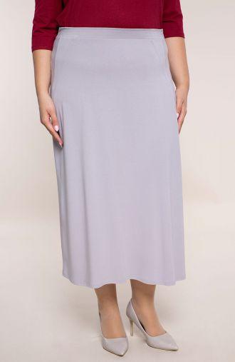 Jasnoszara spódnica z imitacją kieszeni