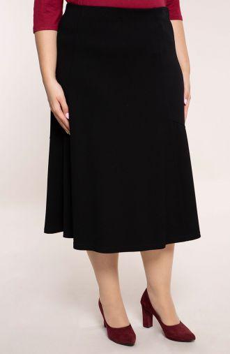 Czarna spódnica z pionowymi przeszyciami