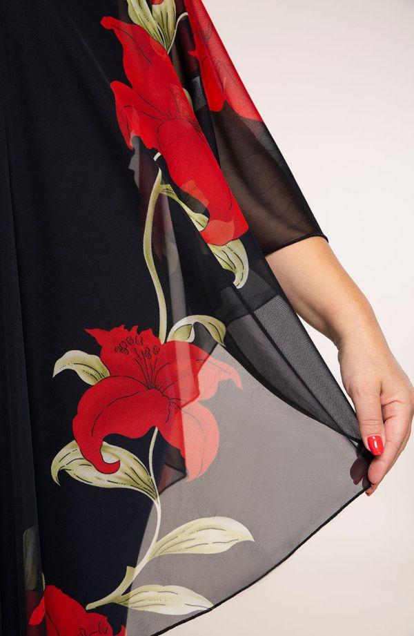 Szyfonowe ponczo w czerwone kwiaty