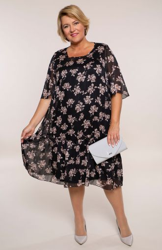Szyfonowa sukienka kwiatowa sepia