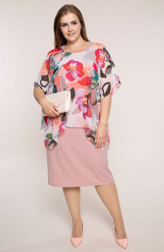Pudrowa sukienka różowa akwarela