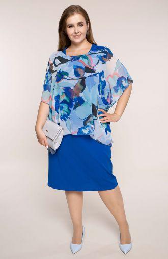 Chabrowa sukienka niebieska akwarela