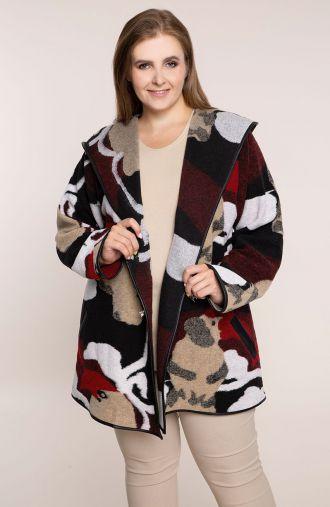 Wełniany płaszcz w bordowe łaty z klamrami