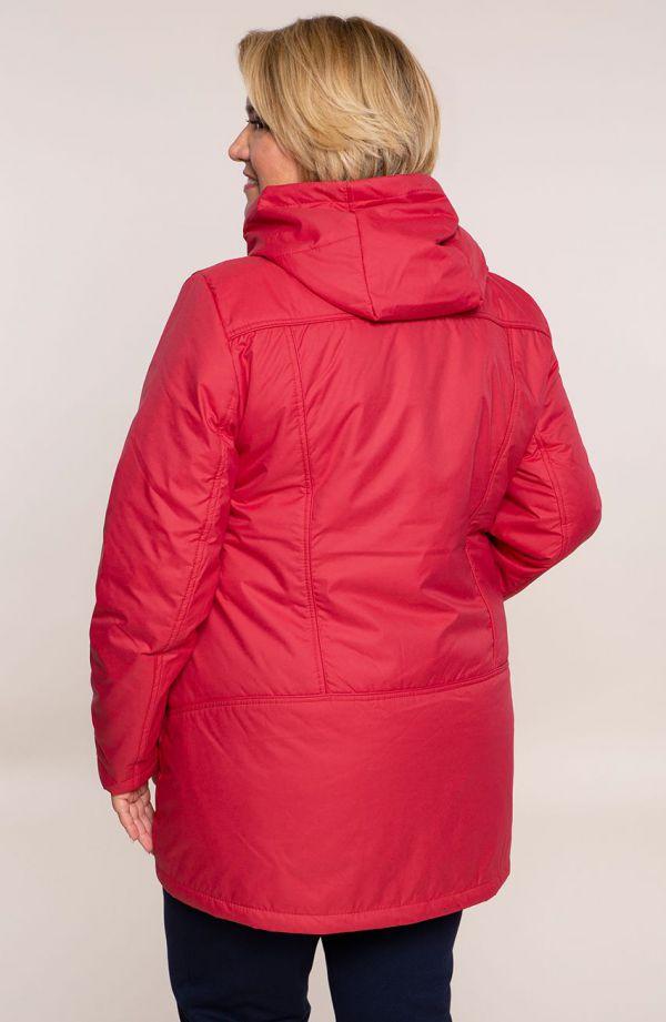 Czerwona przejściowa kurtka z kapturem