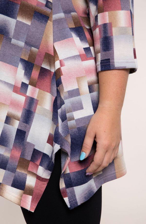 Długa bokami tunika pastelowe kwadraty
