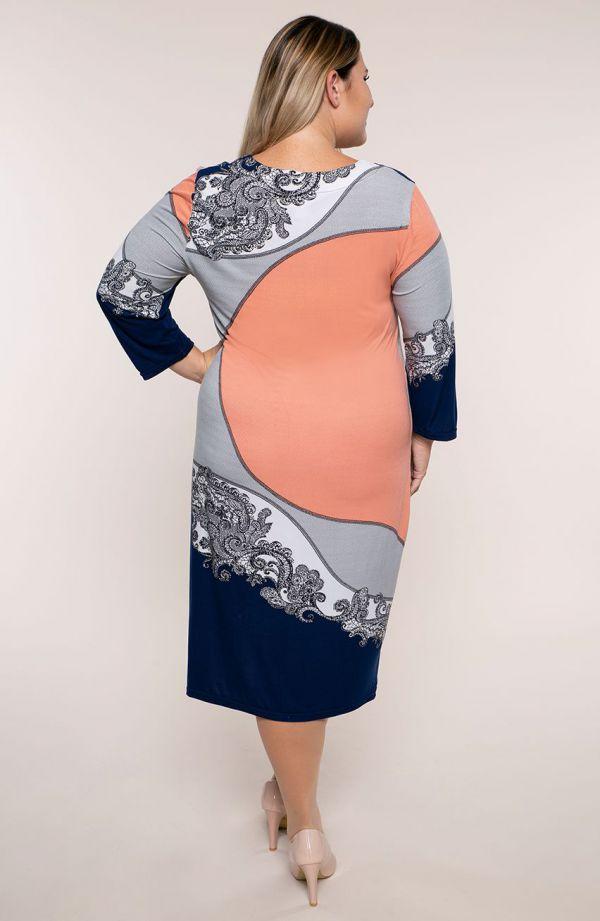 Sukienka z rękawem 3/4 łososiowa koronka