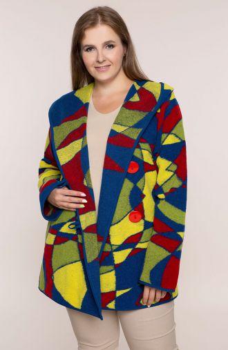 Wełniany płaszcz w kolorową geometrię