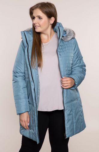 Ciepła kurtka w odcieniu błękitu