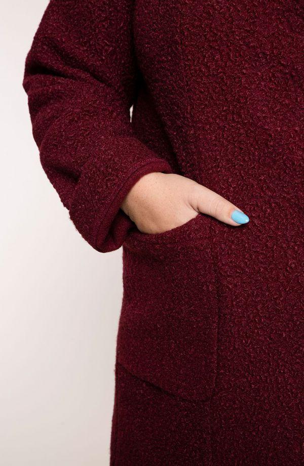Przejściowy ciepły płaszcz bordowy baranek