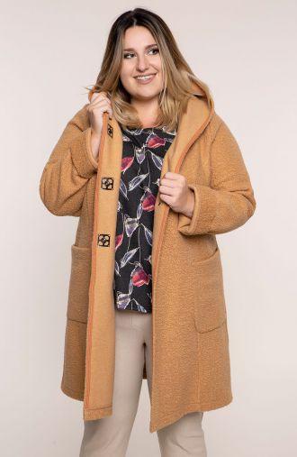 Przejściowy ciepły płaszcz beżowy baranek