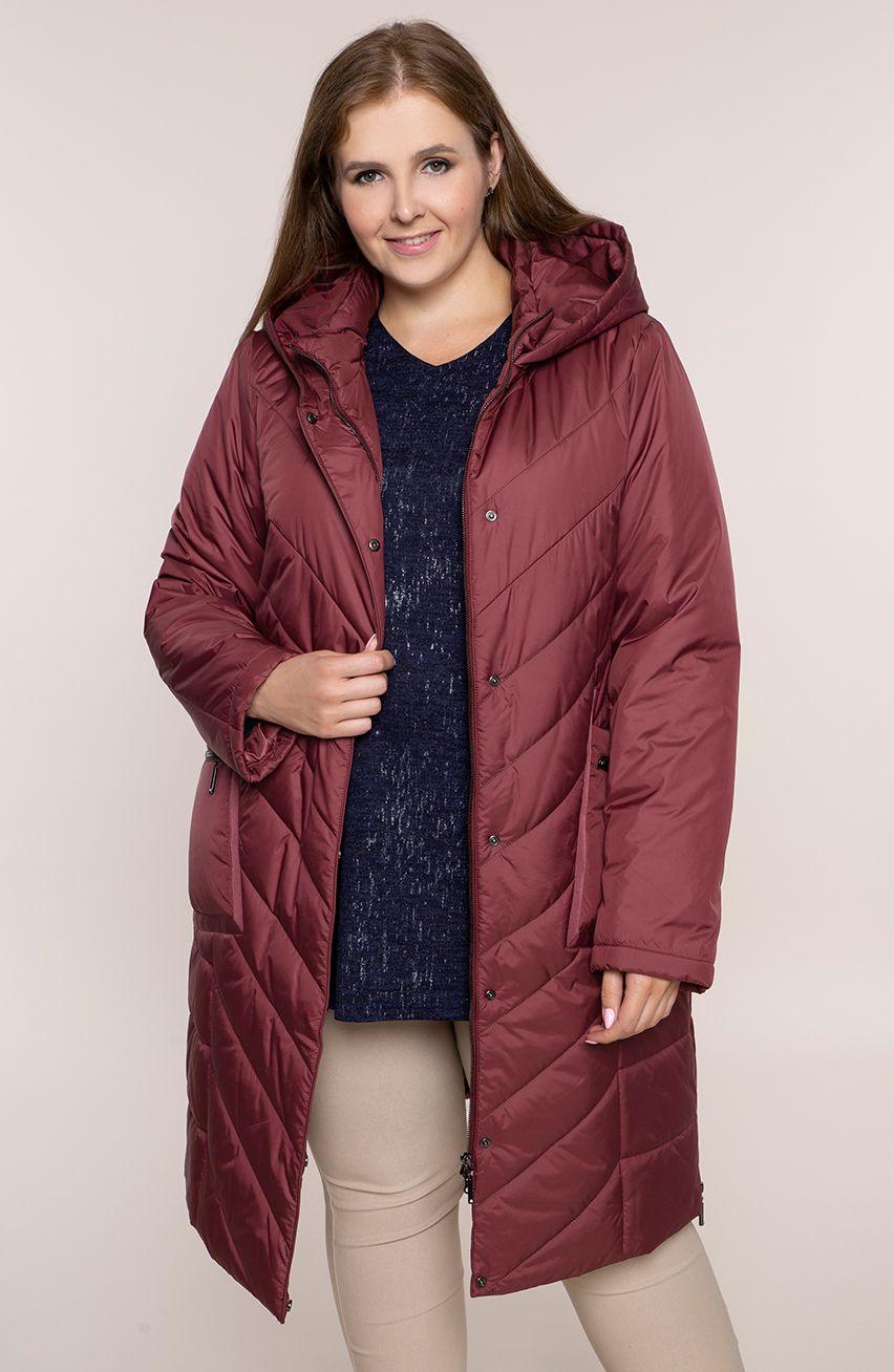 Bordowa ocieplana kurtka z kieszeniami modneduzerozmiary 11139