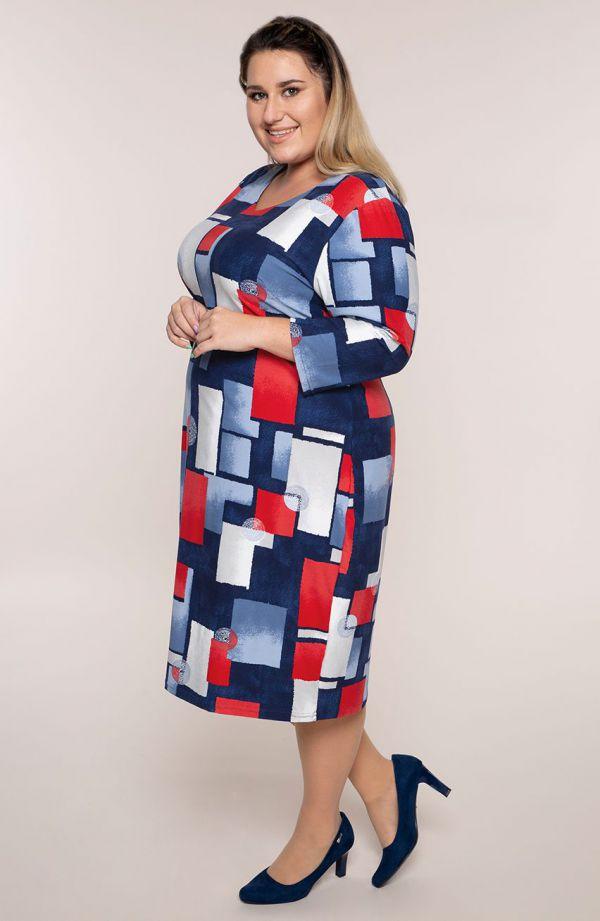 Sukienka z rękawem 3/4 okręgi i kwadraty